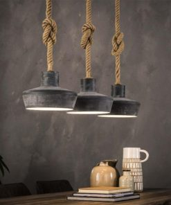Hanglamp 3X28 Betonlook Verstelbaar Touw Verlichting