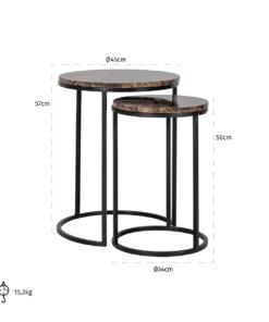 7030 - End table Dalton set of 2 brown emperador marble
