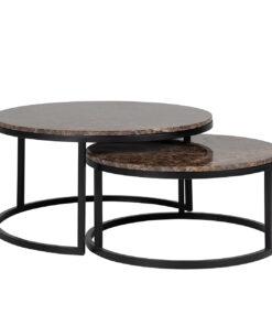 7031 - Coffee table Dalton set of 2 brown emperador marble