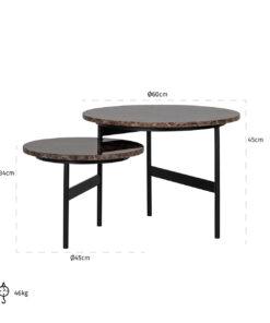 7034 - Coffee table Dalton set of 2 reversible brown emperador marb