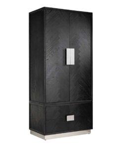 7400 - Wardrobe Blackbone silver with 2-doors 2-drawers
