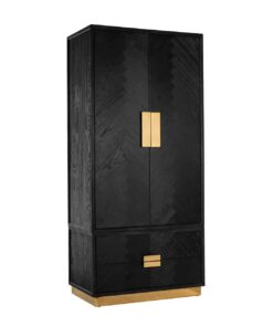 7460 - Wardrobe Blackbone gold with 2-doors 2-drawers