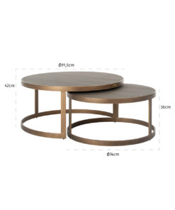 7523 - Coffee table Bloomingville set of 2 round vegan shagreen