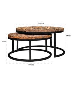 9167 - Coffee table Industrial Kensington set of 2 round