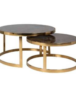 9454 - Coffee table Conrad set of 2 round faux brown marble