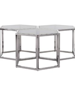 9460 - Coffee table Penta set of 3 hexagon silver