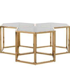 9461 - Coffee table Penta set of 3 hexagon gold
