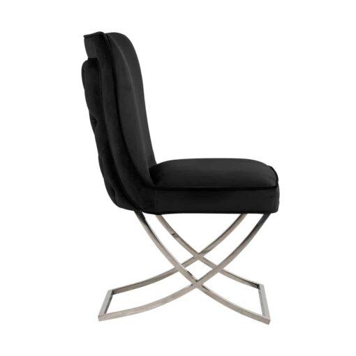S4415 BLACK VELVET - Chair Scarlett Black velvet / silver