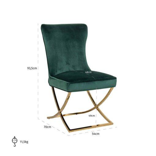 S4415 GREEN VELVET - Chair Scarlett Green velvet / gold