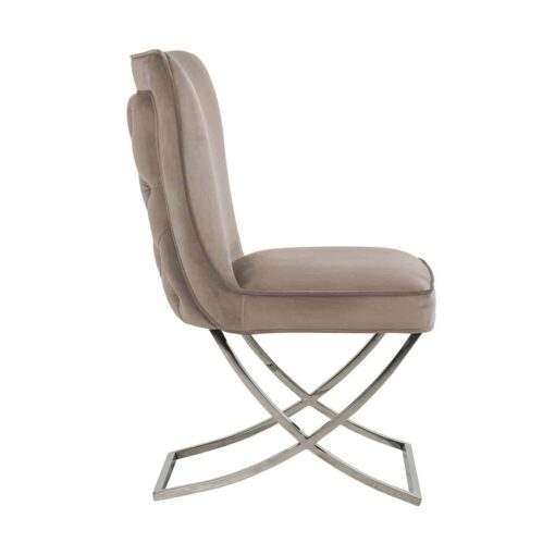 S4415 KHAKI VELVET - Chair Scarlett Khaki velvet / silver