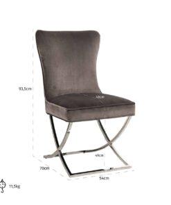 S4415 STONE VELVET - Chair Scarlett Stone velvet / silver