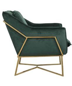 S4416 GREEN VELVET - Easy Chair Aurelia Green velvet / gold