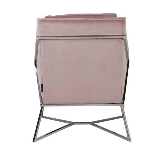 S4416 PINK VELVET - Easy Chair Aurelia Pink velvet / silver
