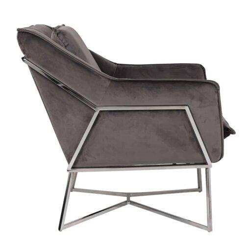 S4416 STONE VELVET - Easy Chair Aurelia Stone velvet / silver