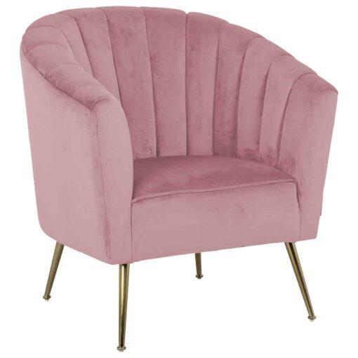 S4419 PINK VELVET - Easy Chair Shelly Pink velvet / gold