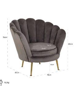 S4439 STONE VELVET - Easy chair Perla Stone Velvet