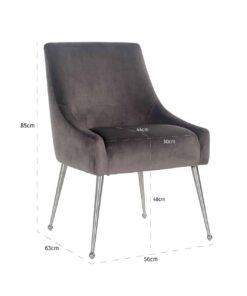 S4440 FR STONE VELVET - Chair Indy Stone velvet/ silver Fire Retardant
