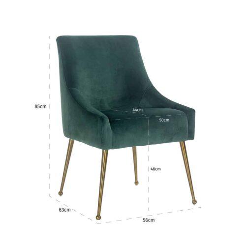 S4440 GREEN VELVET - Chair Indy Green velvet / gold