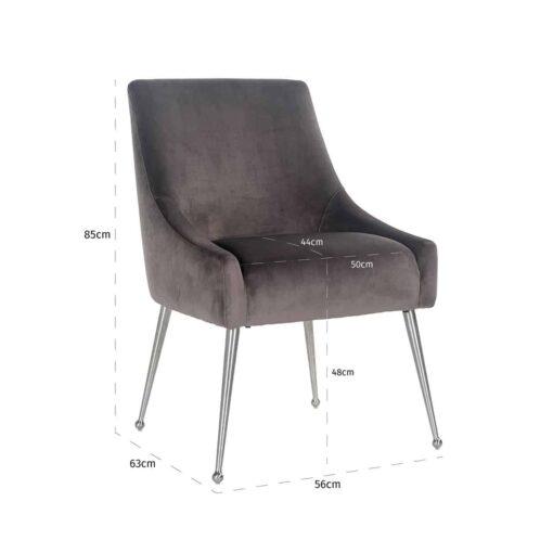 S4440 STONE VELVET - Chair Indy Stone velvet/ silver