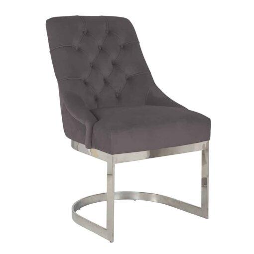 S4441 STONE VELVET - Chair Chaya Stone velvet / silver