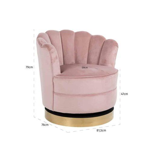 S4442 PINK VELVET - Swivel chair Mila Pink Velvet