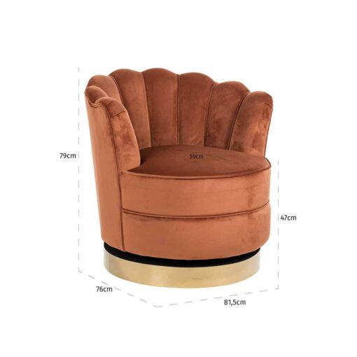 S4442 RUST VELVET - Swivel chair Mila Rust Velvet