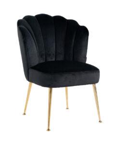 S4445 BLACK VELVET - Chair Pippa Black velvet/ gold