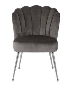 S4445 FR STONE VELVET - Chair Pippa Stone velvet / silver Fire Retardant