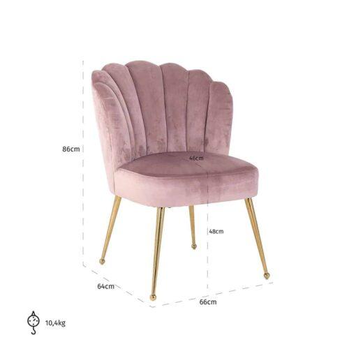 S4445 PINK VELVET - Chair Pippa Pink velvet / gold