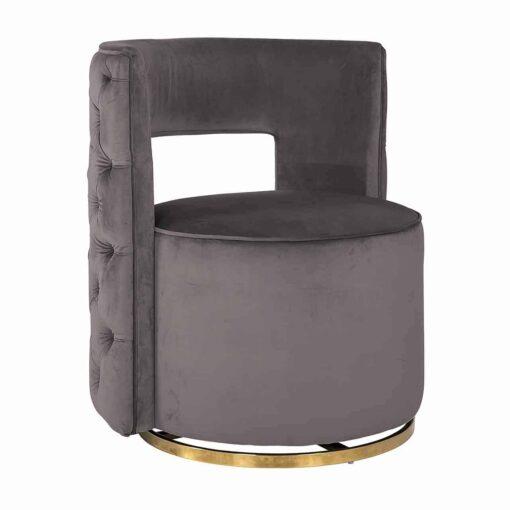 S4446 STONE VELVET - Swivel chair Jamie Stone velvet / gold