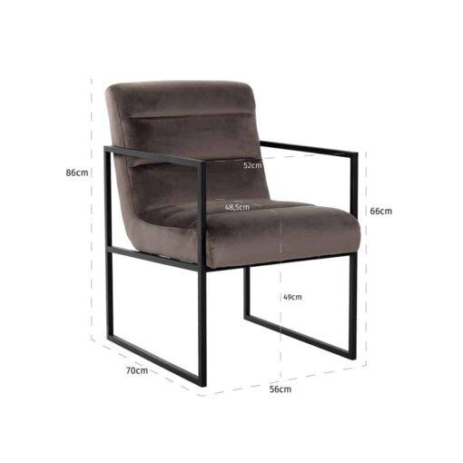 S4451 STONE VELVET - Chair Clara Stone velvet/ black