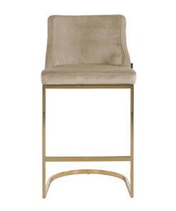 S4460 FR KHAKI VELVET - Bar stool Bolton Khaki velvet / gold Fire Retardant