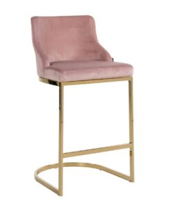 S4460 FR PINK VELVET - Bar stool Bolton Pink velvet / gold Fire Retardant