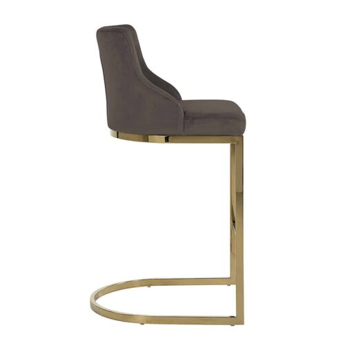 S4460 FR STONE VELVET - Bar stool Bolton Stone velvet / gold Fire Retardant