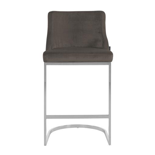 S4460 FR S STONE VELVET - Bar stool Bolton Stone velvet / silver Fire Retardant