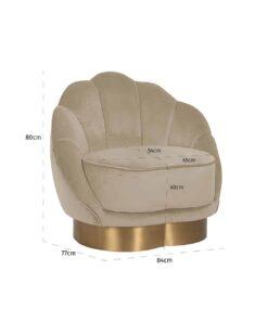 S4473 KHAKI VELVET - Easy chair Olivia Khaki Velvet