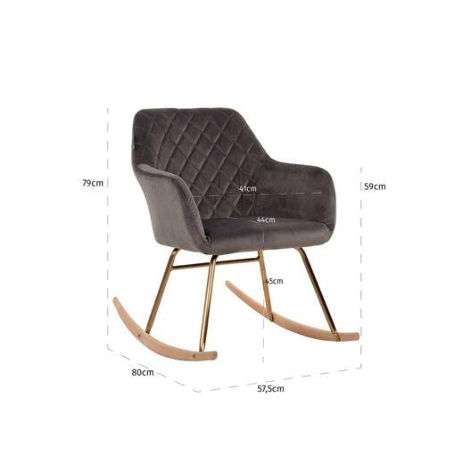 S4474 STONE VELVET - Rocking chair Rocky Stone Velvet