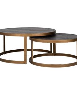7375 - Coffee table Blackbone brass set of 2 round