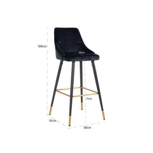S4476 BLACK VELVET - Bar stool Imani Black Velvet