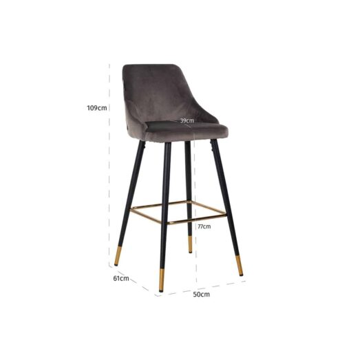 S4476 STONE VELVET - Bar stool Imani Stone Velvet