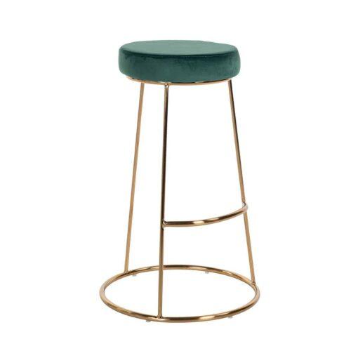 S4478 GREEN VELVET - Bar stool Brandy Green Velvet / gold
