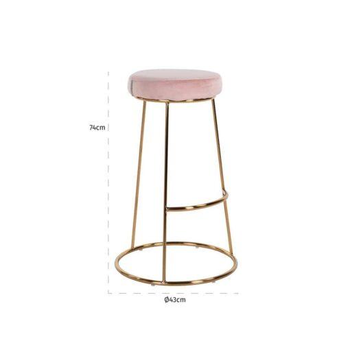 S4478 PINK VELVET - Bar stool Brandy Pink Velvet / gold
