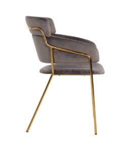 S4480 FR STONE VELVET - Chair Angelica Stone velvet / gold frame Fire Retardant