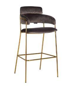 S4481 FR STONE VELVET - Bar stool  Angelica Stone velvet / gold frame Fire Retardant