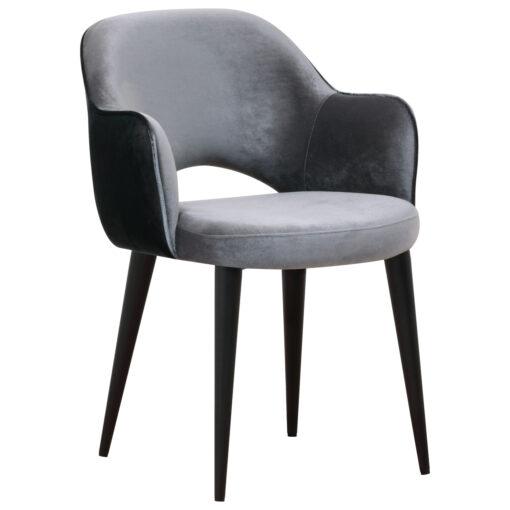 S4483 ANTRACIET - Chair Giovanna with armrest Genova Antr. / Emerald Darkgrey
