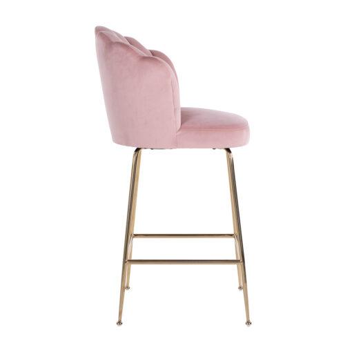 S4485 PINK VELVET - Bar stool Pippa Pink velvet / gold
