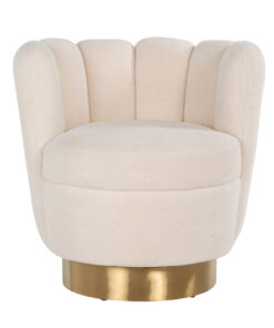 S4487 WHITE - Easy chair Mayfair White teddy / Bushed gold