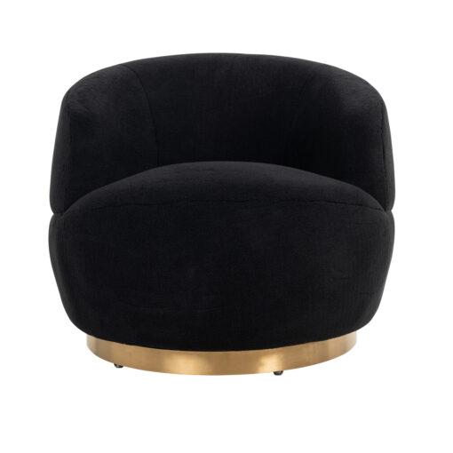 S4489 BLACK - Swivel easy chair Teddy Black teddy / Brushed gold