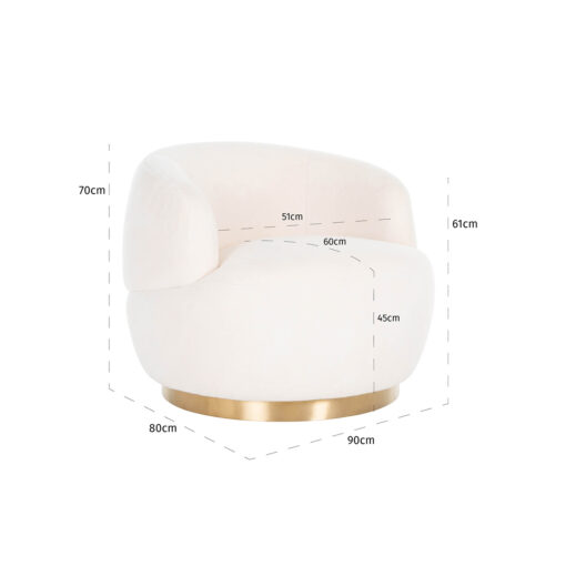 S4489 WHITE - Swivel easy chair Teddy White teddy / Bushed gold