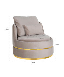 S4491 KHAKI VELVET - Easy Chair Kylie Khaki velvet / gold